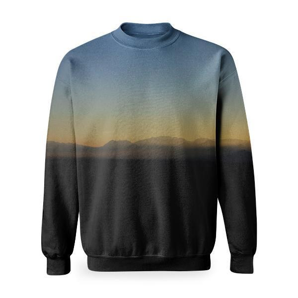 Woman Using Binoculars In Mountain During Sunset Basic Sweatshirt