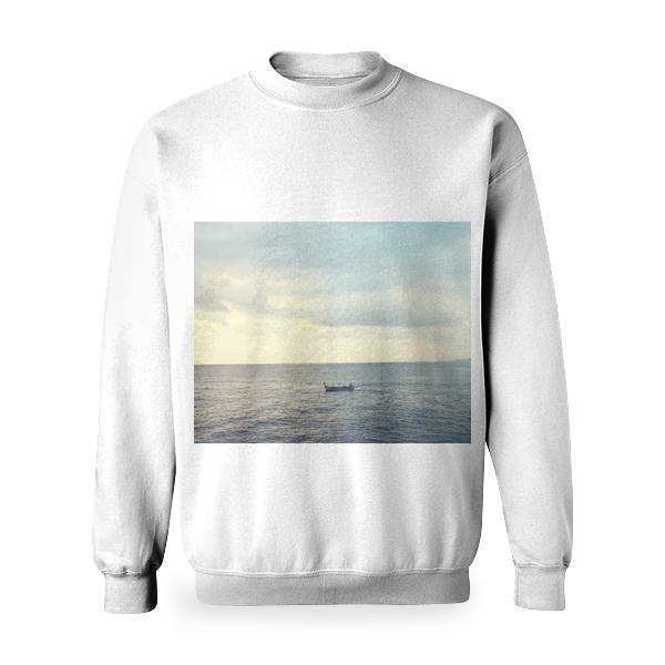 Wooden Boat On Water Calm Body Of During Cloudy Daytime Sky Basic Sweatshirt