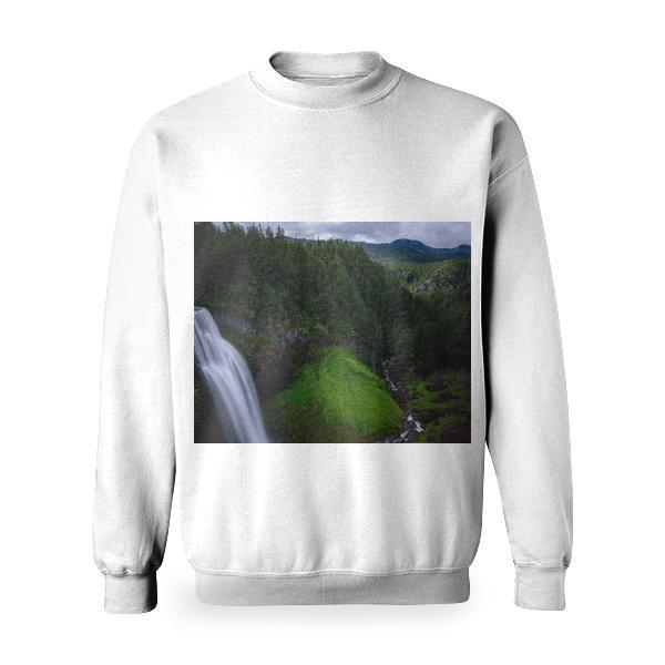 Water Fall On Mountain Under Gray Cloudy Sky Basic Sweatshirt