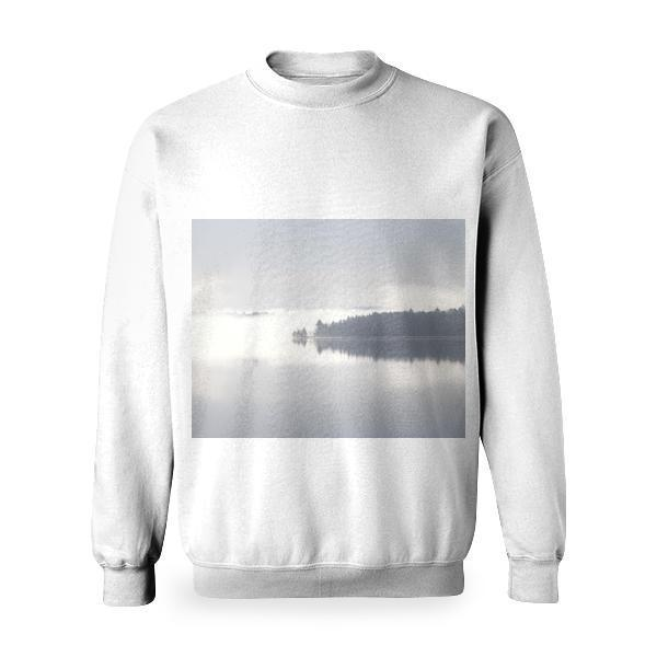 Silhouette Of Trees Reflecting On Body Water Basic Sweatshirt