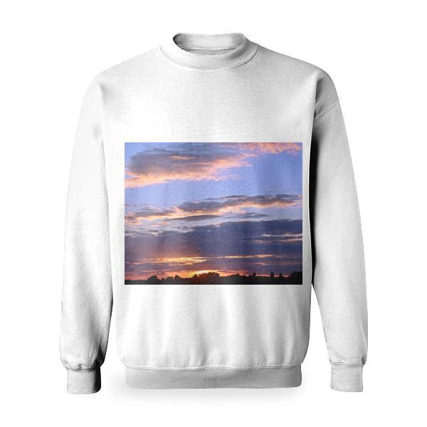 White Clouds And Blue Sky During Golden Hour Basic Sweatshirt
