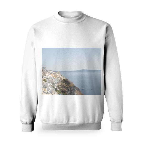 White Concrete Buildings Near Body Of Water Basic Sweatshirt