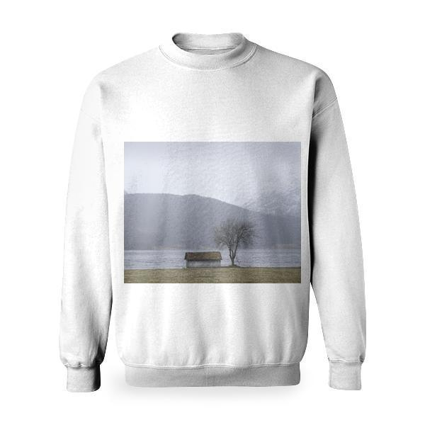 White And Brown Wooden Barn Beside Leafless Tree Basic Sweatshirt