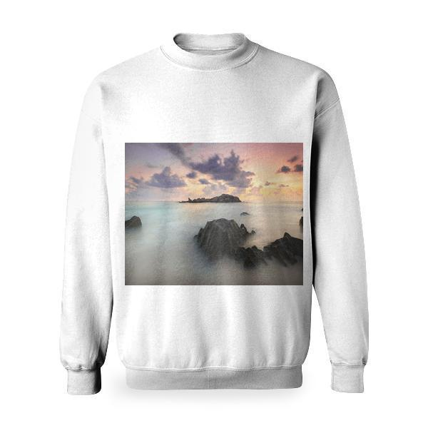 Time Lapse Photography Of High Rise Mountain Covered With Clouds Basic Sweatshirt