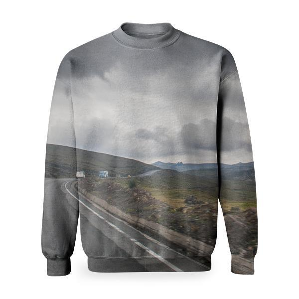 Road Near Brown Stone During Cloudy Basic Sweatshirt