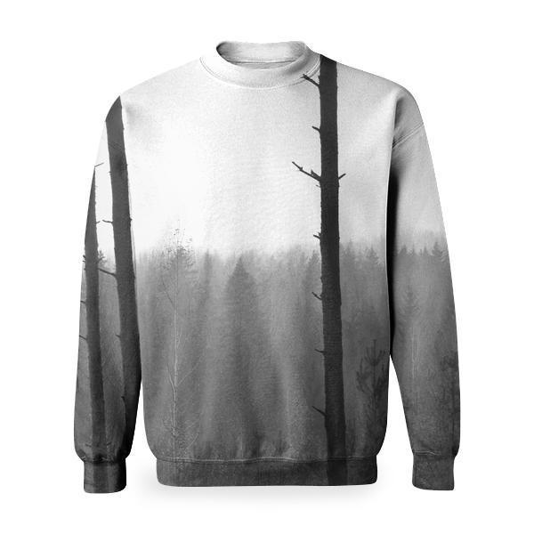 Silhouette Truck Trees During Fogs Basic Sweatshirt