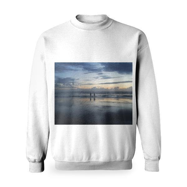 Two Person Standing Near The Sea Basic Sweatshirt