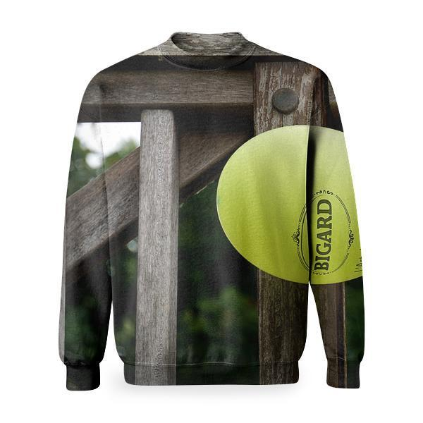Yellow Orange And White Balloon Beside Gray Wooden Fence Basic Sweatshirt