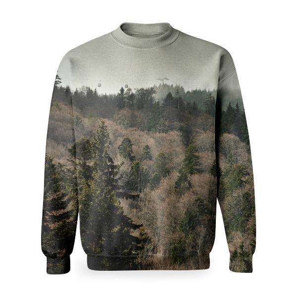 Top View Photo Of Mountain Slope Covered With Green Trees Basic Sweatshirt