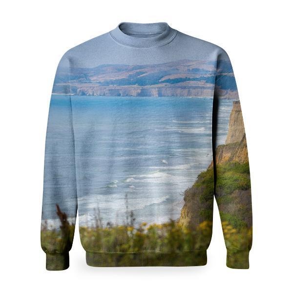Yellow Flower On Cliff Of A Valley Basic Sweatshirt