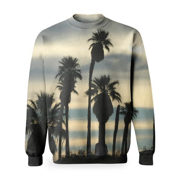 Silhouette Of Trees Under Cloudy Sky During Daytime Basic Sweatshirt