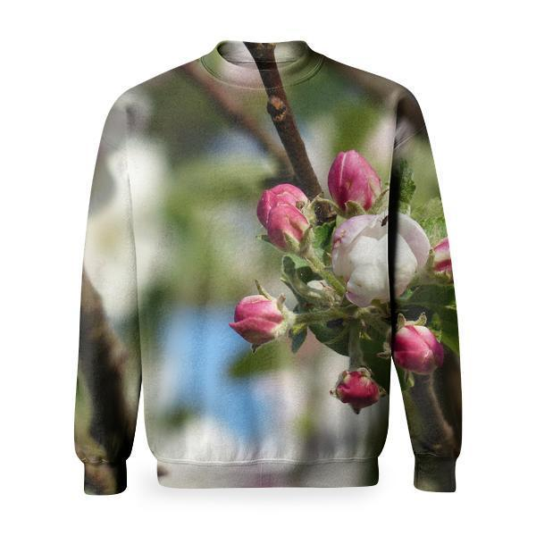White And Red Flowers Beside Leaves In Bokeh Photography Basic Sweatshirt