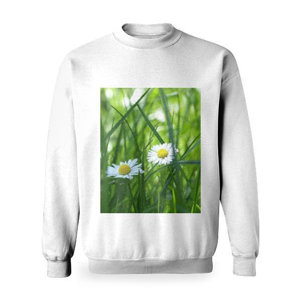 Yellow And White Flower Surrounded By Green Grass Basic Sweatshirt