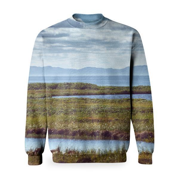 Green Ground Under Blue Sky During Day Time Basic Sweatshirt