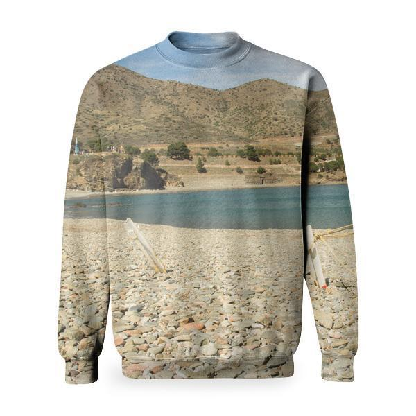 White Boat Placed In The White Stone Area Near Body Of Water Basic Sweatshirt