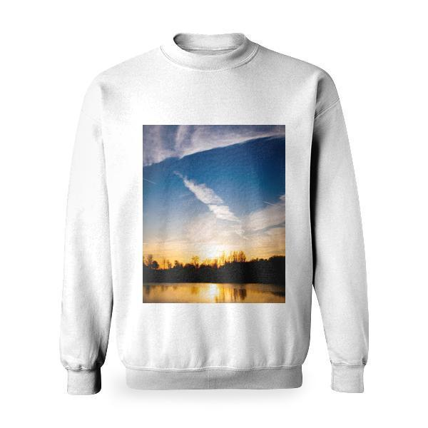 Silhouettes Of Trees During Sunset Basic Sweatshirt