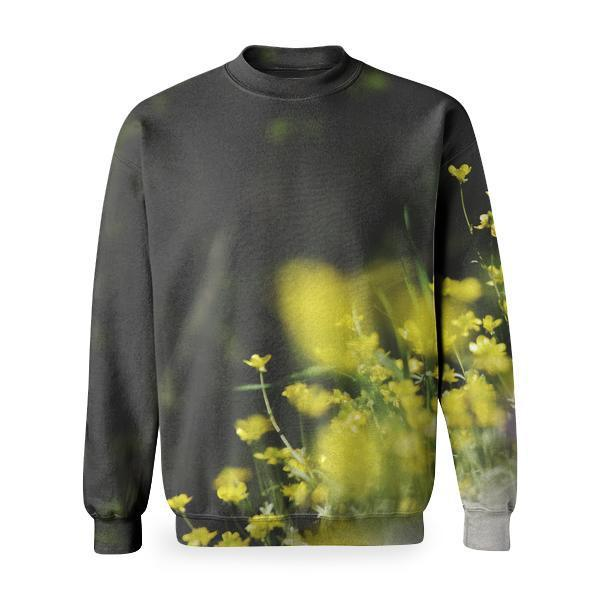 Yellow Flowers In Tilt Shift Lens Photography Basic Sweatshirt