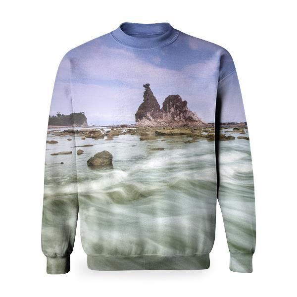 White Clouds Over Rocky Isle Time Lapse Photography Basic Sweatshirt