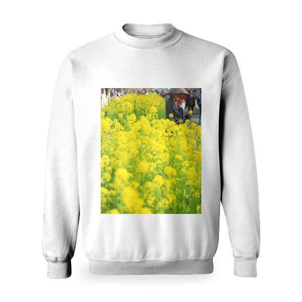Shallow Focus Photography Of Person In Black Kimono Near Flower Field Basic Sweatshirt