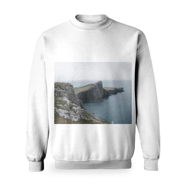 White Lighthouse Beside Body Of Water Basic Sweatshirt