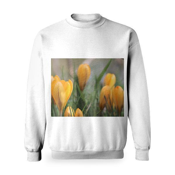 Yellow Petaled Flower With Green Leaves Basic Sweatshirt