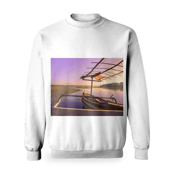 White And Brown Rowboat On Calm Body Of Water During Sunset Basic Sweatshirt