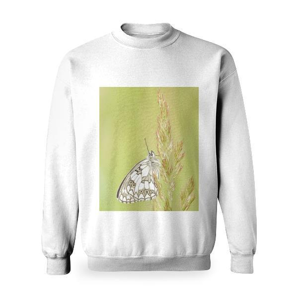 White And Brown Butterfly On Green Pink Leaf Plant Basic Sweatshirt