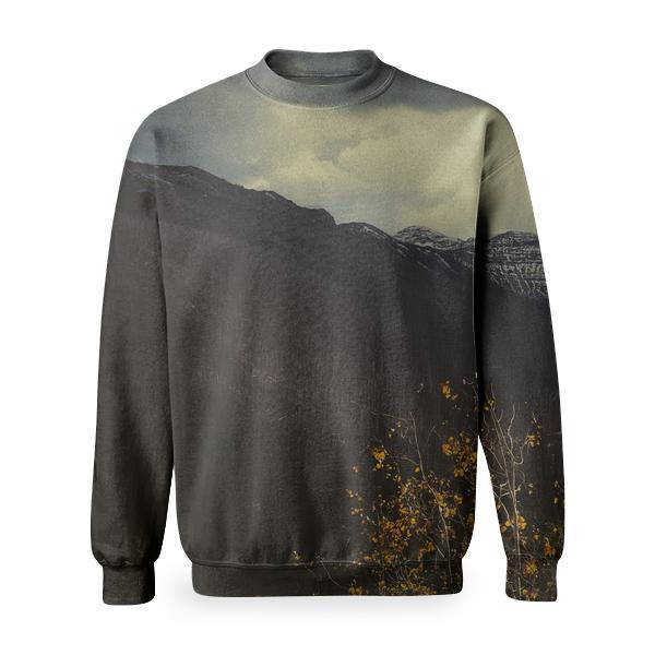 Trees Near Mountains Under Dimmed Cloudy Sky Basic Sweatshirt