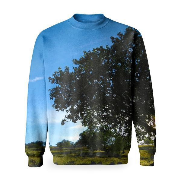 Wide View Tree And Green Grass During Daytime Basic Sweatshirt