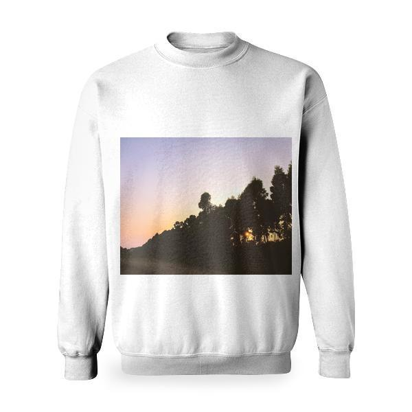 Silhouettes Of Tall Trees Near Dirt Road During Sunset Basic Sweatshirt
