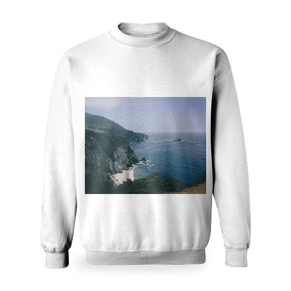 View Of Ocean Water From Mountain Cliff During Daytime Basic Sweatshirt