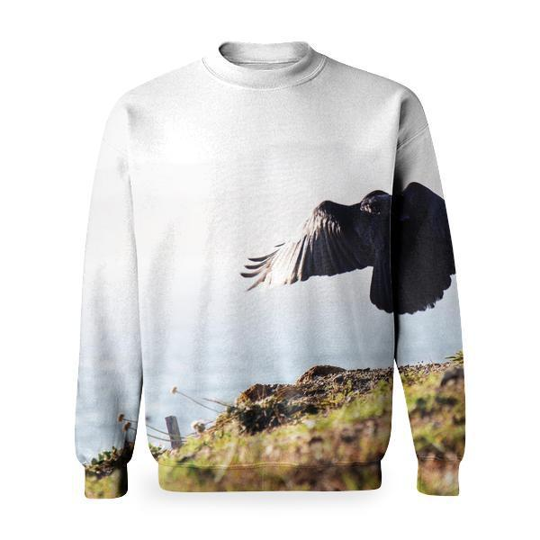 2 Eagle Near Green Grass And Cliff During Daytime Basic Sweatshirt
