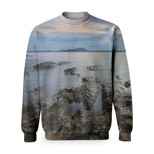 Top View Of Beach And Rocks Under Grey Cloudy Sky Basic Sweatshirt