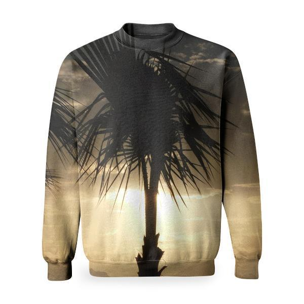 Silhouette Photo Of Coconut Tree Beside The Body Water Basic Sweatshirt