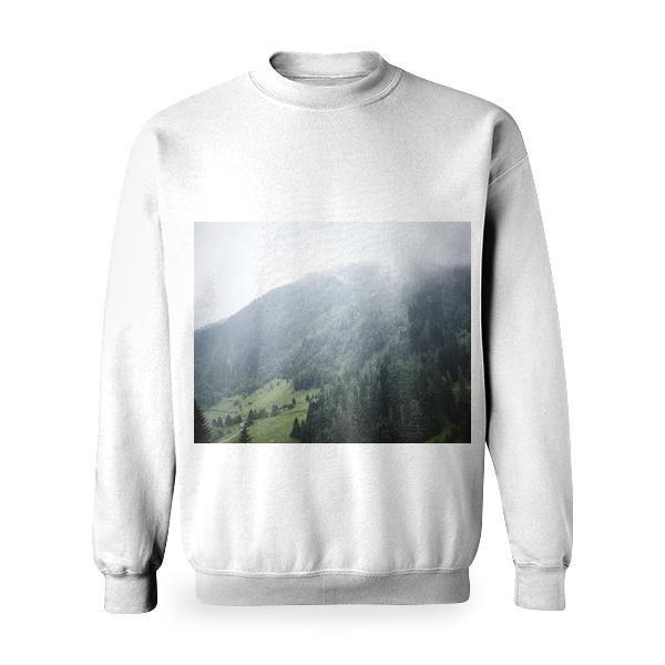 Nature Skyline With Foggy Air During Daytime Basic Sweatshirt
