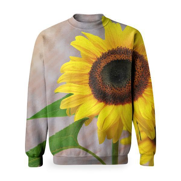 Yellow Sunflower Macro Photographyt Basic Sweatshirt