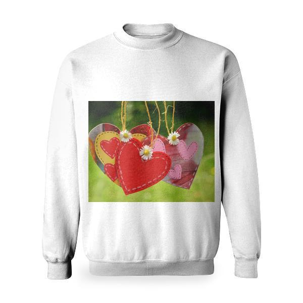 Three Red Hearts Hanging With White Flowers Basic Sweatshirt