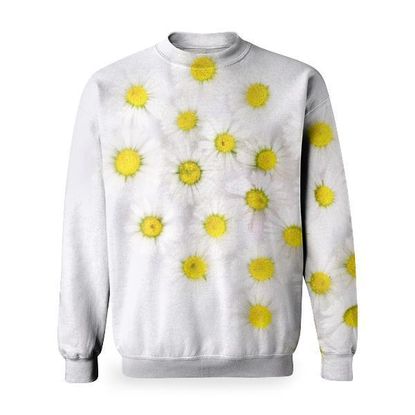 White And Yellow Flowers In Heart Form Basic Sweatshirt