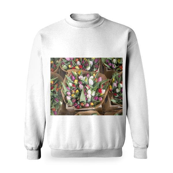 White Yellow And Red Tulips Bouquets Basic Sweatshirt