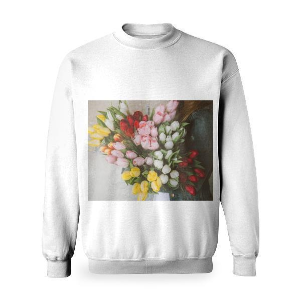 Woman Holding Pink White Red And Yellow Tulips Basic Sweatshirt