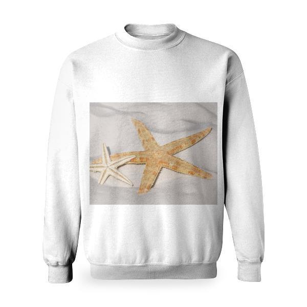 White And Orange Star Fish Side By At The Sand Basic Sweatshirt