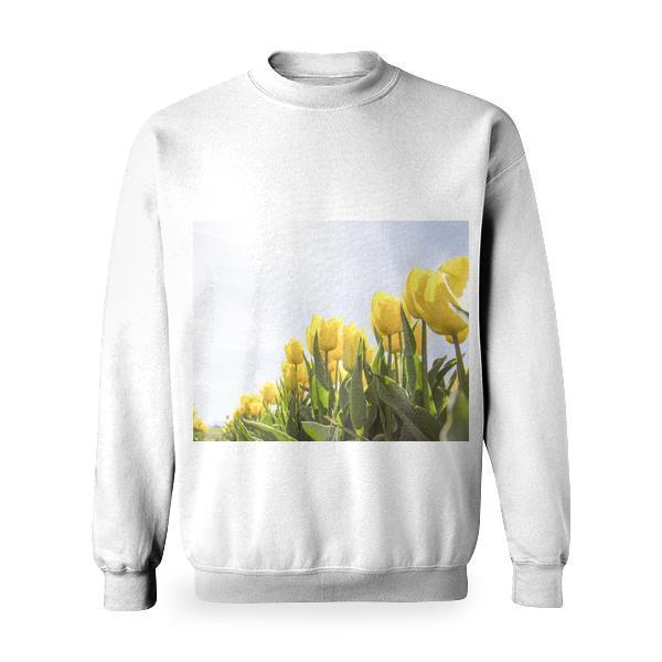 Yellow Tulip Flower Field During Daytime Basic Sweatshirt
