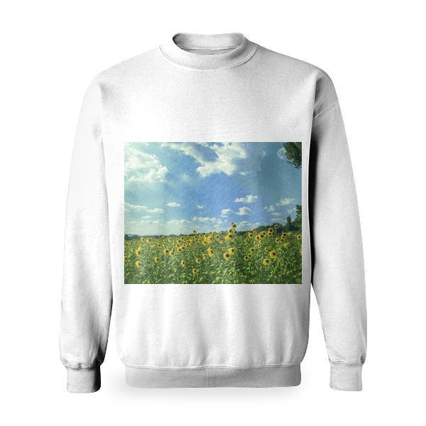 Yellow Sunflower Field Under Blue And White Sky Basic Sweatshirt