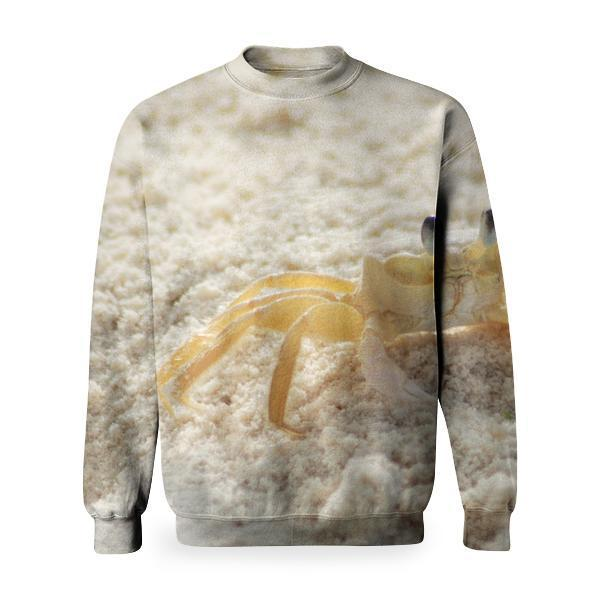 Yellow And White Crab On Sand Beach During Daytime Basic Sweatshirt