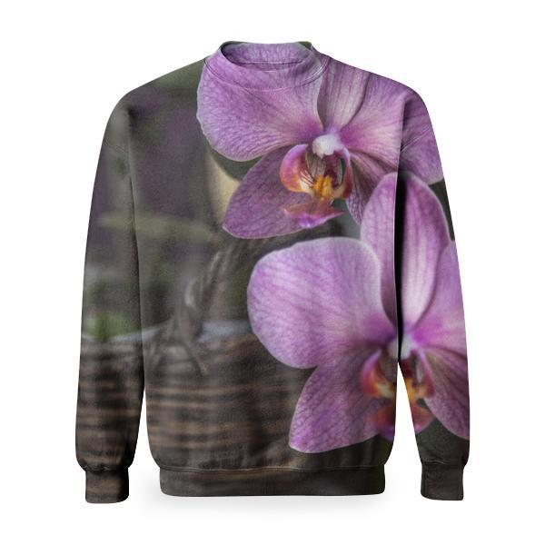 Purple And White Moth Orchids Basic Sweatshirt