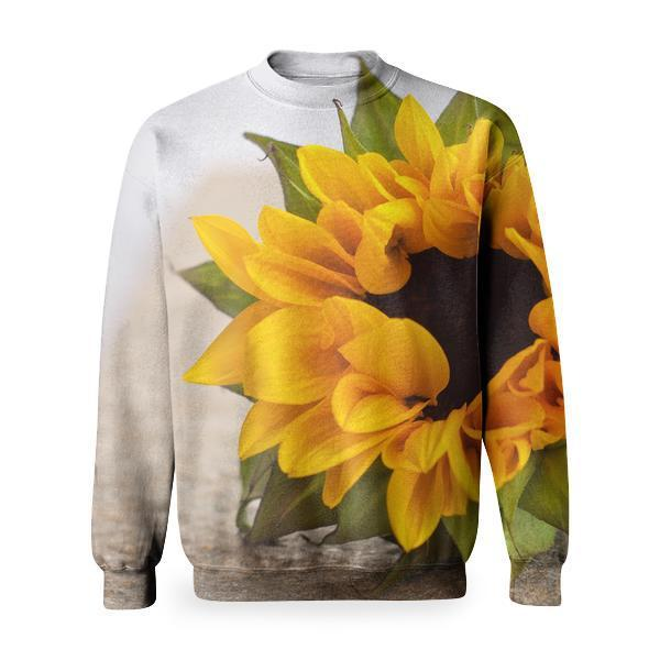 Yellow Petals Flower Sunflower Basic Sweatshirt