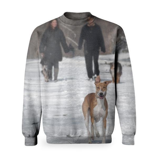 2 Person And Dog Walking In The Snow During Daytime Basic Sweatshirt