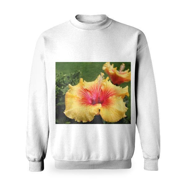 Yellow Red Hibiscus Basic Sweatshirt