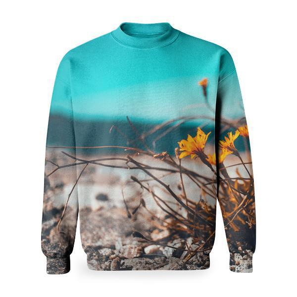 Yellow Petaled Flower Besides Brown Stone Basic Sweatshirt