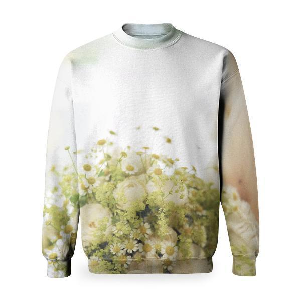Woman In Bridal Gown Holding Bouquet Of White Flowers Basic Sweatshirt
